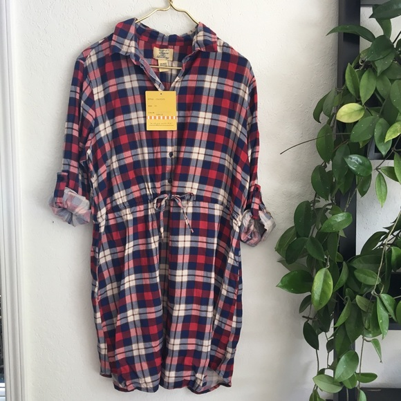 Nwt New 1X Plus size red plaid shirt dress